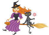 Witch and a cat on a broom — Stock Vector