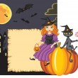 Congratulation on Halloween with a witch and a cat — Vector de stock