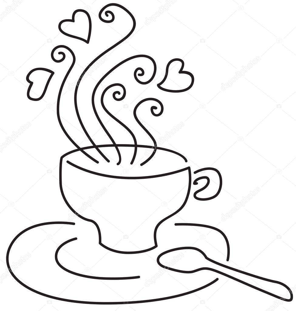 A cup with a hot drink from it too pairs with hearts — Stock Vector #13151971