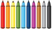 Multicolored markers — Stock Vector
