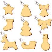 Christmas labels on a string — Cтоковый вектор
