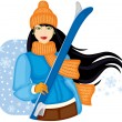Girl with skis — Stock Vector