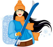 Girl with skis — Stockvector