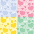 Set backgrounds whit hearts and patches — Stock Vector