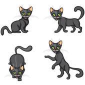 Black Kitten in different poses — Stock Vector