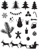 Christmas silhouettes — Stock Vector