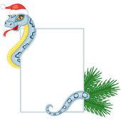 Cartoon schlange hält eine karte — Stockvektor