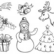 Stock Vector: Set of Christmas pictures