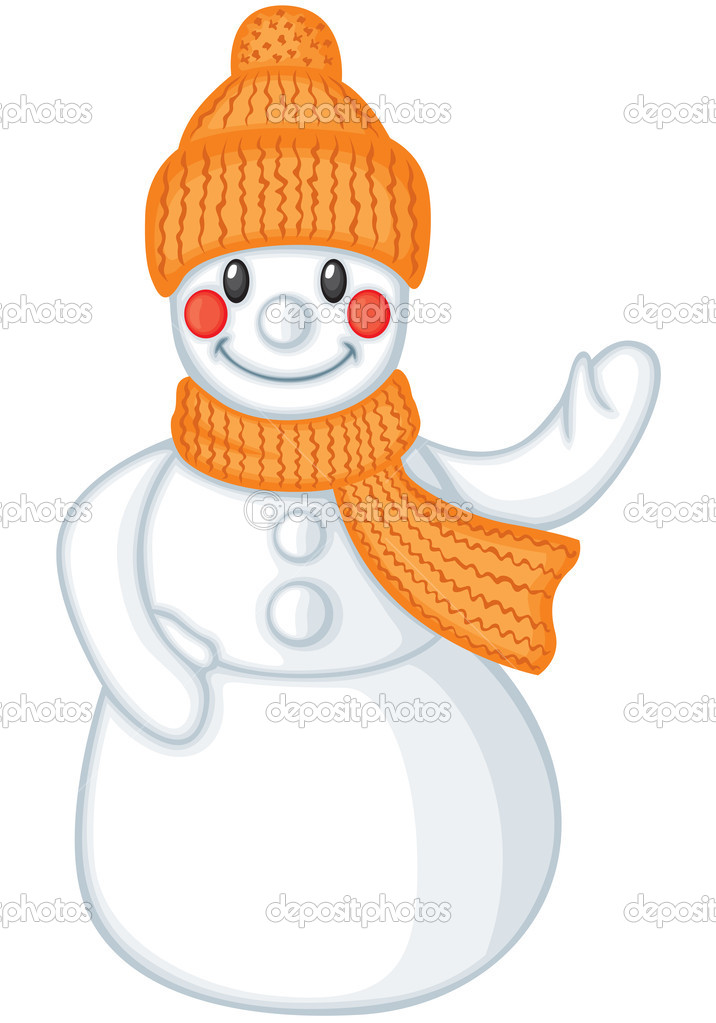 微笑的帽子和围巾雪人可爱卡通
