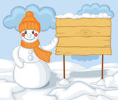 Cute cartoon snowman and billboard — Stock Vector