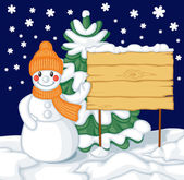 Snowman and billboard against the background of fir — Stock Vector