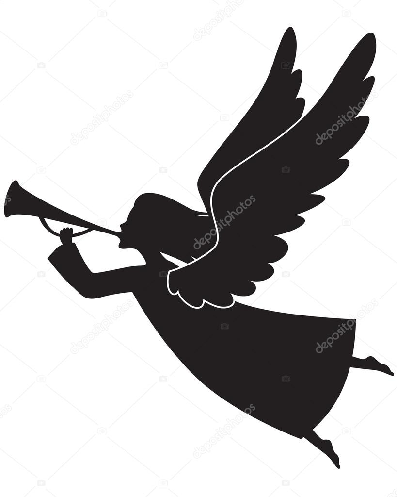 A silhouette of a Christmas Angel Blowing a trumpet  Stock Vector #16875907