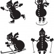 Snowmen sportsmen — Stock Vector
