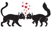 Valentine cats — Stock Vector
