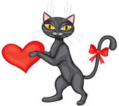 Black cat gives his heart — Stock Vector