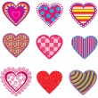 Set of multicolor hearts - Stock Vector