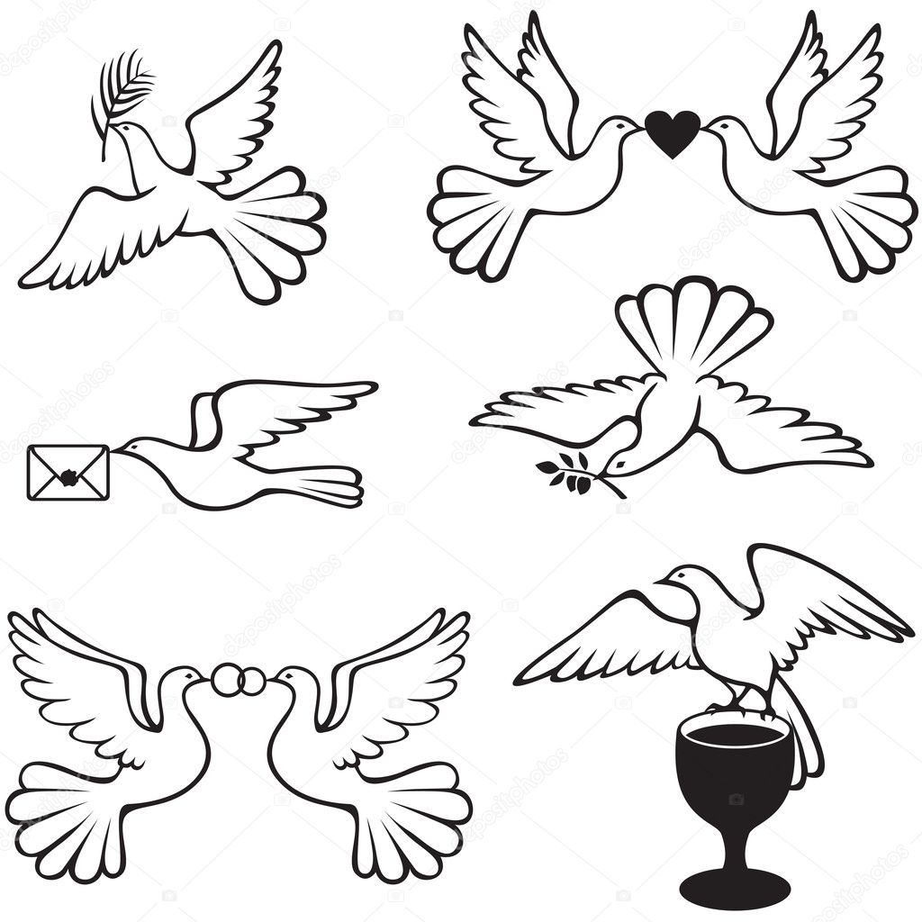 Set symbolic images with doves  Stock Vector #18826601