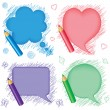 Stock Vector: Speech bubbles and pencils