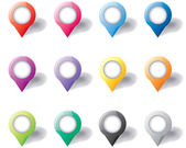 Set of round 3D map pointers — Stock Vector