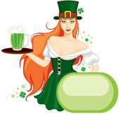 Girl celebrates St. Patrick's Day — Stock Vector