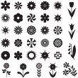 Set flower silhouette - Stock Vector