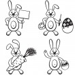 Cartoon bunny set — Stock Vector