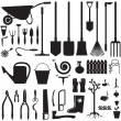 Stock Vector: Garden equipment set