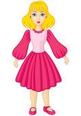Girl in pink dress — Stock Vector