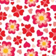 Heart flowers seamless pattern — Stock Vector