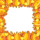 Pumpkins and apples frame — Stock Vector