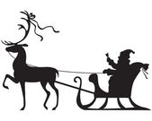Santa Claus riding on a deer sleigh — Stock Vector