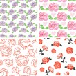 Stock Vector: Roses seamless pattern set