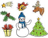 Noel karikatür ayarla — Stok Vektör