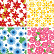 Set floral seamless pattern — Stock Vector