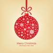 Christmas card with ball — Image vectorielle