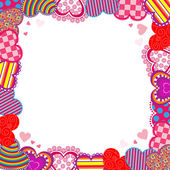 Hearts greeting frame — Vector de stock