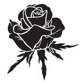 Silhouette rose flower — Stock Vector