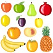 Cartoon fruit set — Stock Vector
