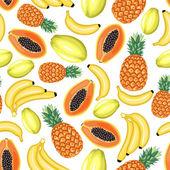 Patrón sin costuras de frutas tropicales — Vector de stock