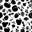 Silhouette fruits and berries pattern seamless — Stock Vector #48045183