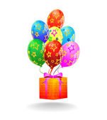 Multicolored balloons and gift box. Vector — Stock Vector