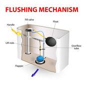 Flushing mechanism Flush toilet — Stock Vector