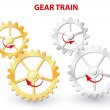Stock Vector: Gear train