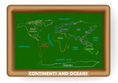 Continents and ocean drawn on a blackboard — Stock Vector