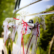 Wedding car decorated with flowers and ribbons  — Stock Photo