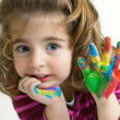 Stock Photo: Preschool girl waving hello goodbye