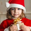 Little Christmas girl with a present — Stock Photo #30409991