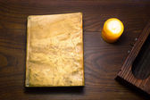 Book with leather covers — Stock Photo