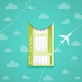空を背景に緑の航空券. — ストックベクタ