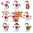 Collection of snowman. - Stock Vector